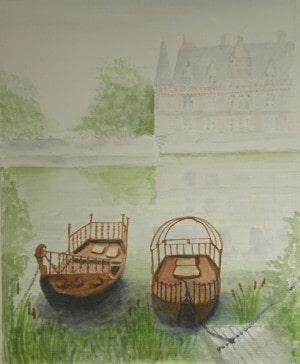 Boats on a misty lake