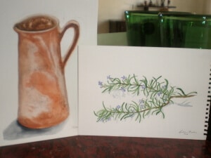 Jug and rosemary