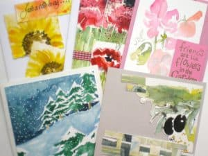 Up cycle your watercolour paintings to make greeting cards then get ready to have even more painting fun by up cycling some of your pictures into cards to send on any m4hsunfo