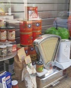 Italian food shop window dsiplay.
