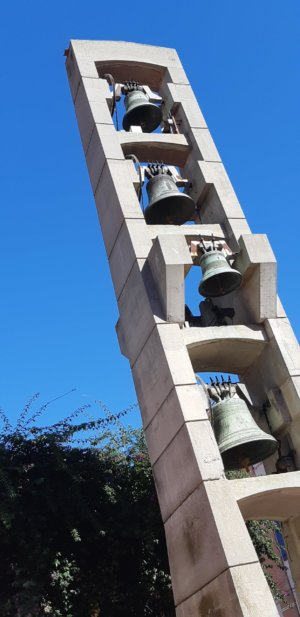 Church bells on the pavement.