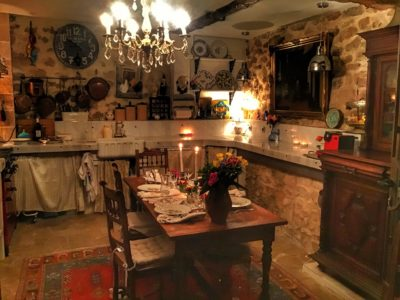 A real French kitchen for dining.